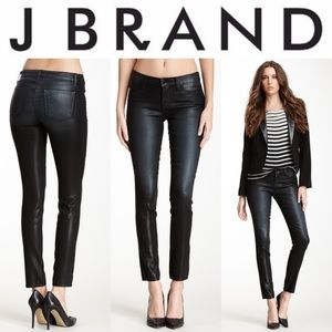 J Brand Super Skinny Wax Coated Jean